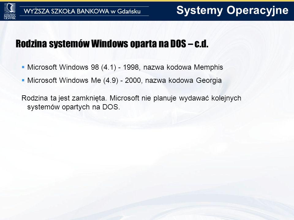 Systemy Operacyjne Rodzina systemów Windows oparta na DOS – c.d.