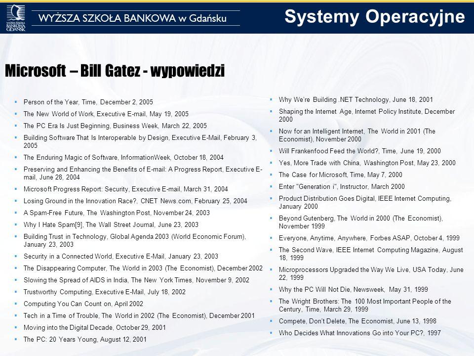 Systemy Operacyjne Microsoft – Bill Gatez - wypowiedzi