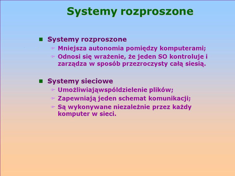 Systemy rozproszone Systemy rozproszone Systemy sieciowe