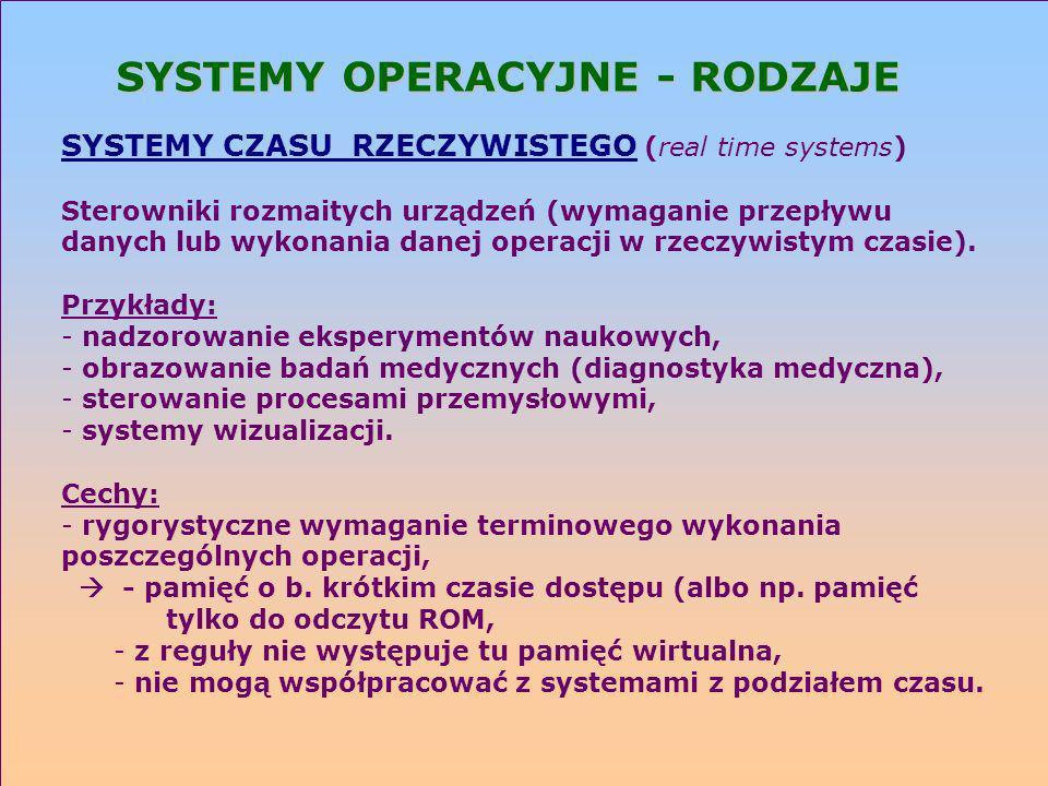 SYSTEMY OPERACYJNE - RODZAJE