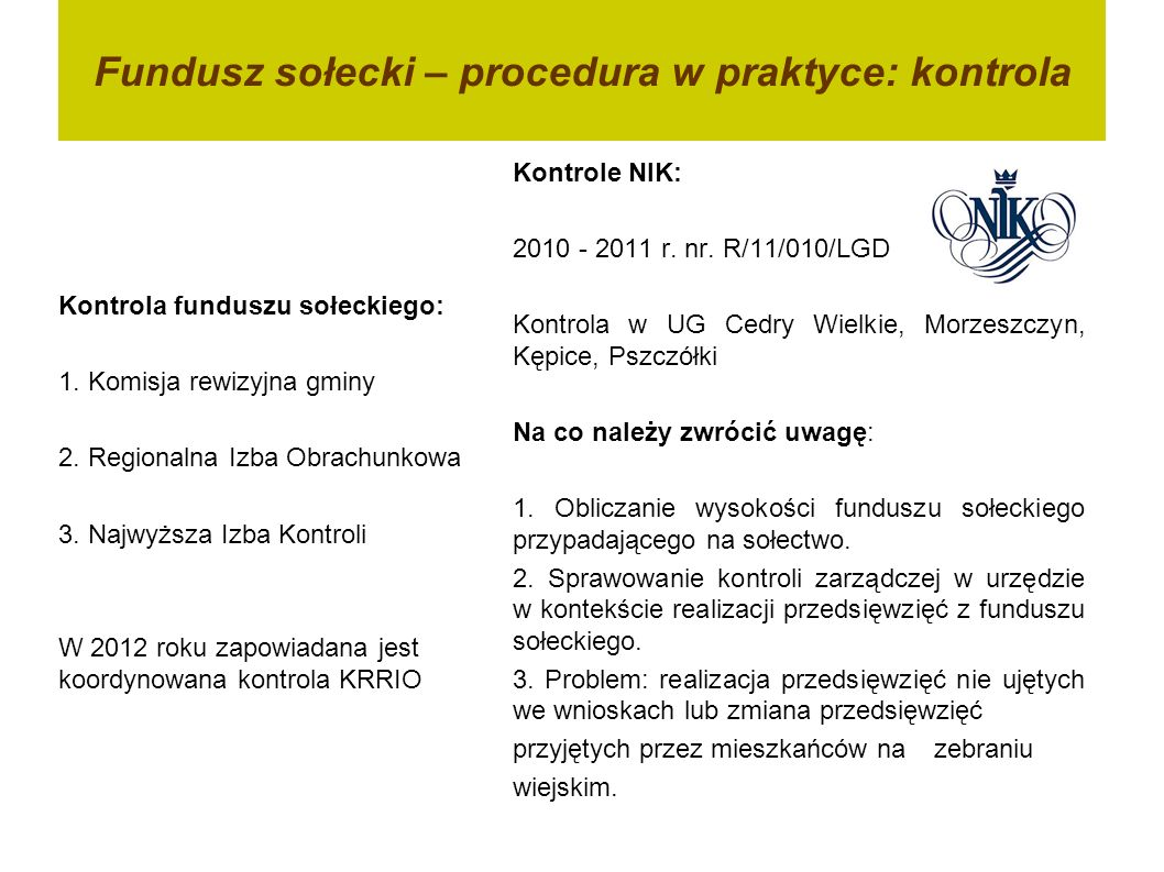 Fundusz sołecki – procedura w praktyce: kontrola