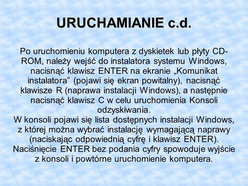 URUCHAMIANIE c.d.