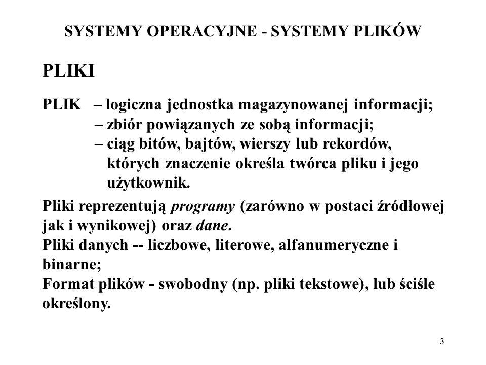 SYSTEMY OPERACYJNE - SYSTEMY PLIKÓW