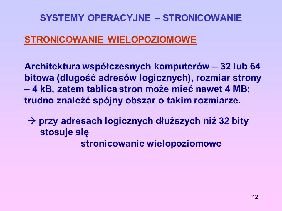 SYSTEMY OPERACYJNE – STRONICOWANIE