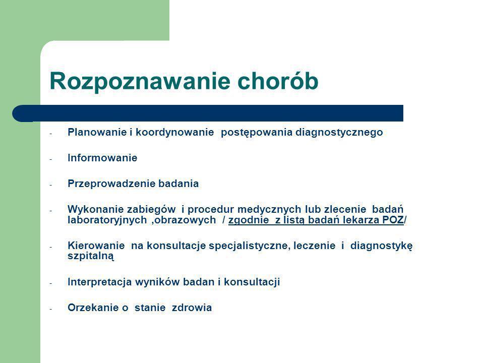 Rozpoznawanie chorób Planowanie i koordynowanie postępowania diagnostycznego. Informowanie. Przeprowadzenie badania.