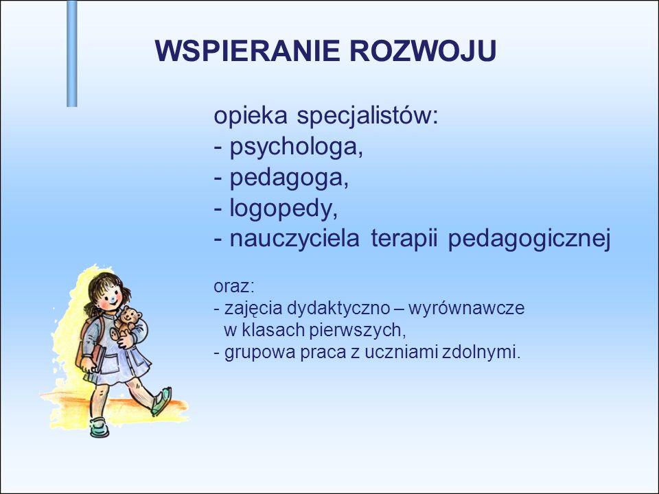 WSPIERANIE ROZWOJU. opieka specjalistów:. - psychologa,. - pedagoga,