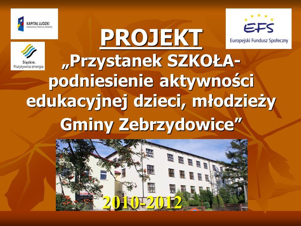 """PROJEKT """"Przystanek SZKOŁA- podniesienie aktywności edukacyjnej dzieci, młodzieży Gminy Zebrzydowice"""