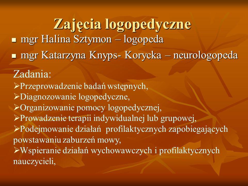 Zajęcia logopedyczne mgr Halina Sztymon – logopeda