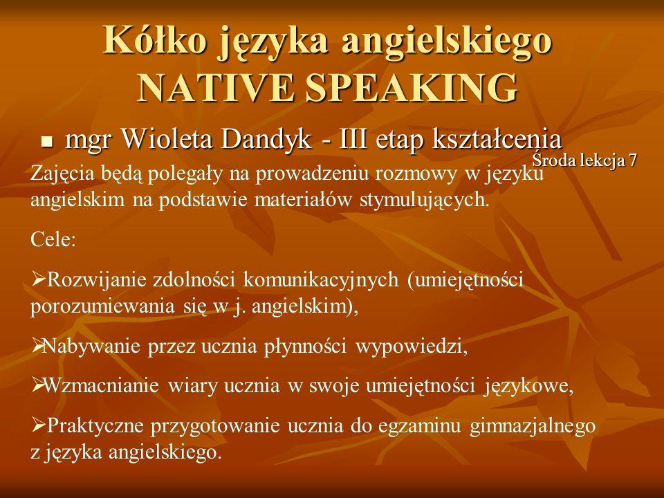 Kółko języka angielskiego NATIVE SPEAKING
