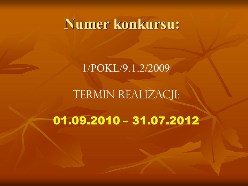 Numer konkursu: 1/POKL/9.1.2/2009 Termin realizacji: