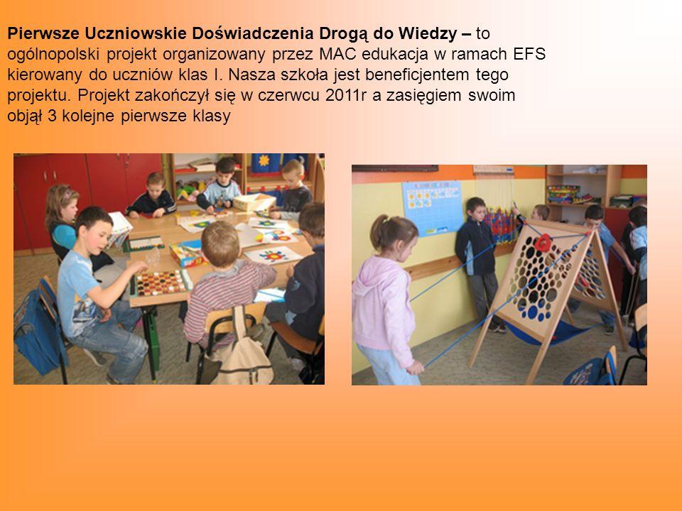 Pierwsze Uczniowskie Doświadczenia Drogą do Wiedzy – to ogólnopolski projekt organizowany przez MAC edukacja w ramach EFS kierowany do uczniów klas I.