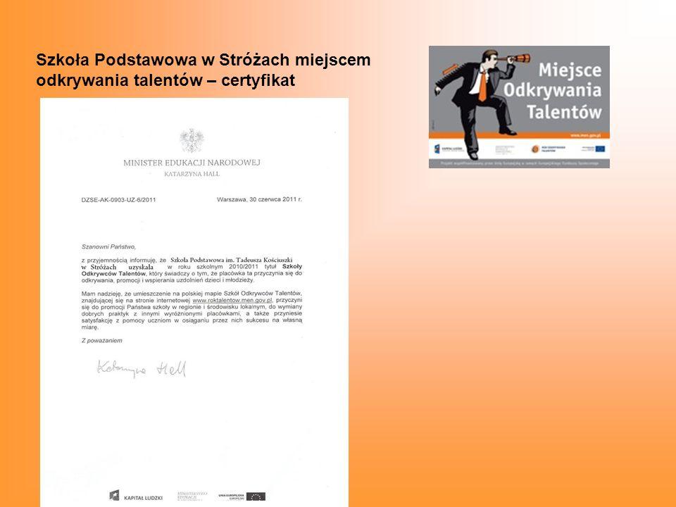 Szkoła Podstawowa w Stróżach miejscem odkrywania talentów – certyfikat