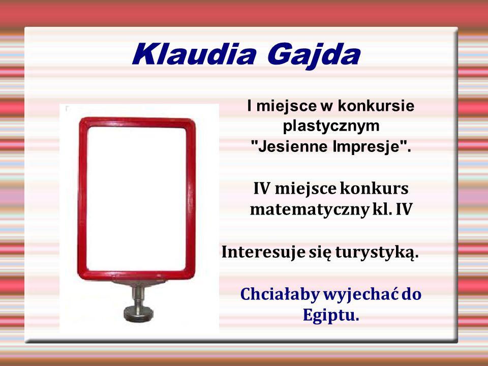 Klaudia Gajda IV miejsce konkurs matematyczny kl. IV