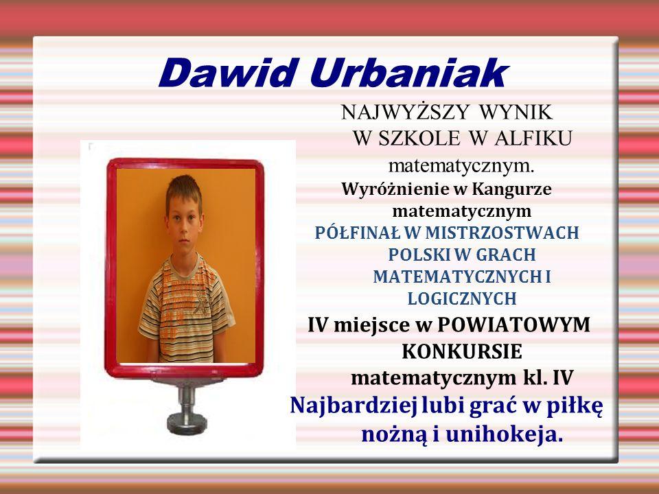 Dawid Urbaniak IV miejsce w POWIATOWYM KONKURSIE matematycznym kl. IV