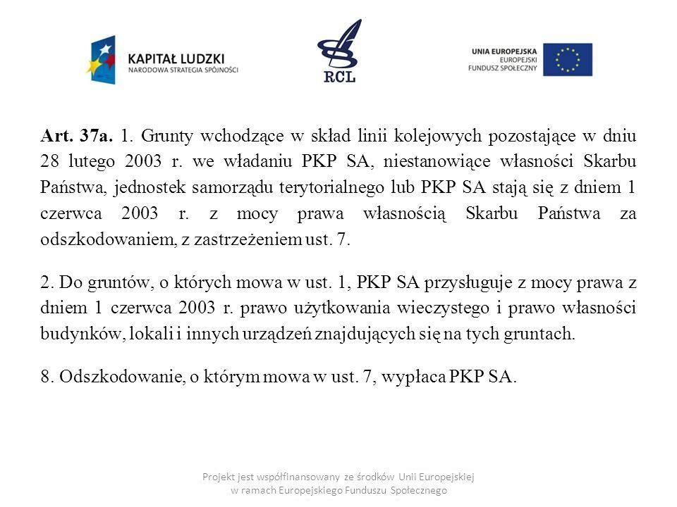8. Odszkodowanie, o którym mowa w ust. 7, wypłaca PKP SA.