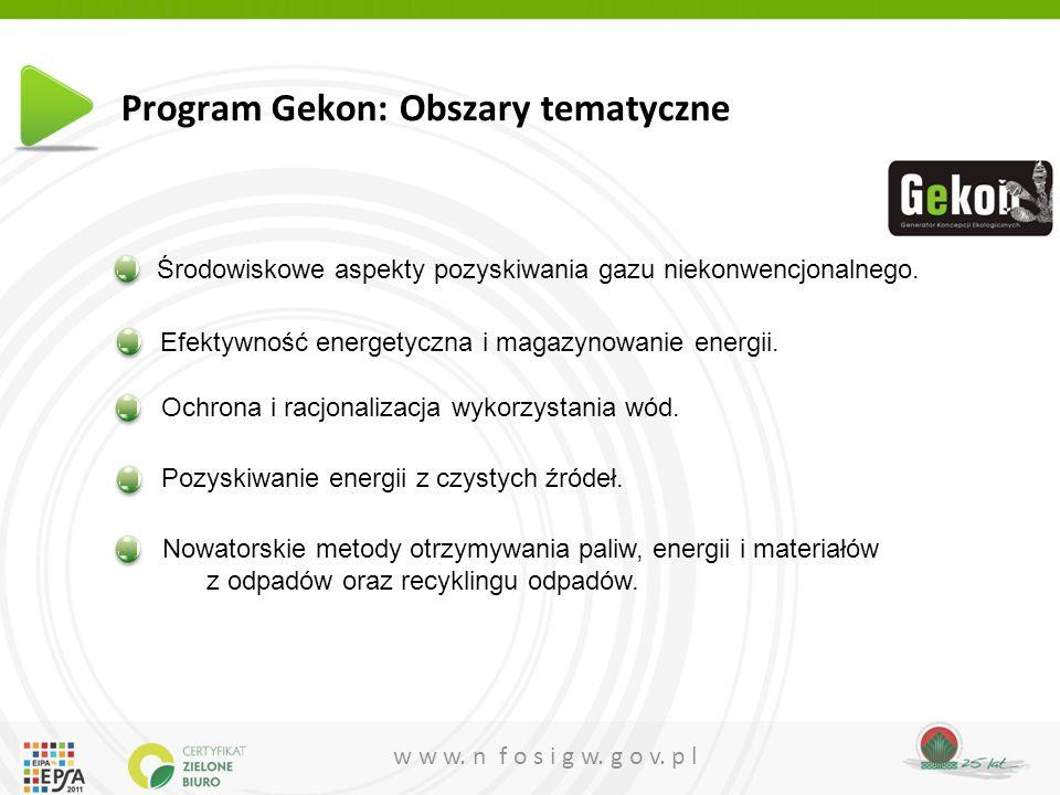 Program Gekon: Obszary tematyczne