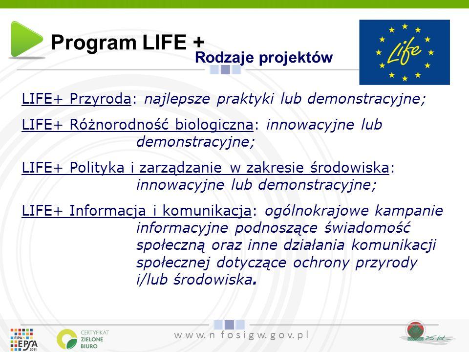 Program LIFE + Rodzaje projektów