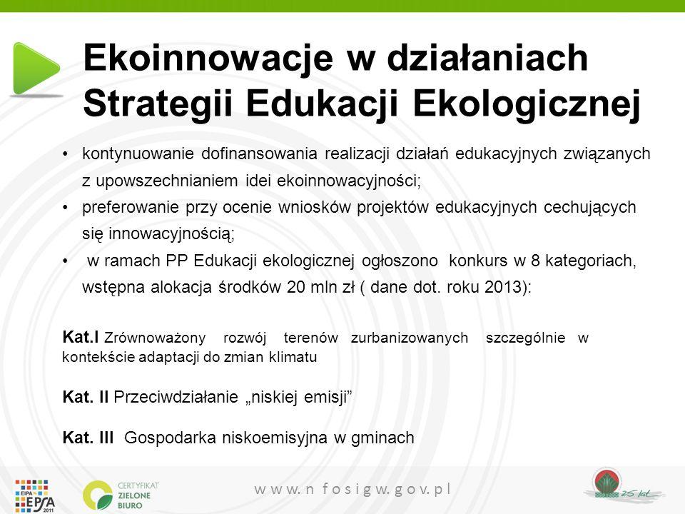 Ekoinnowacje w działaniach Strategii Edukacji Ekologicznej