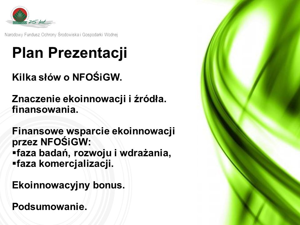 Plan Prezentacji Kilka słów o NFOŚiGW.