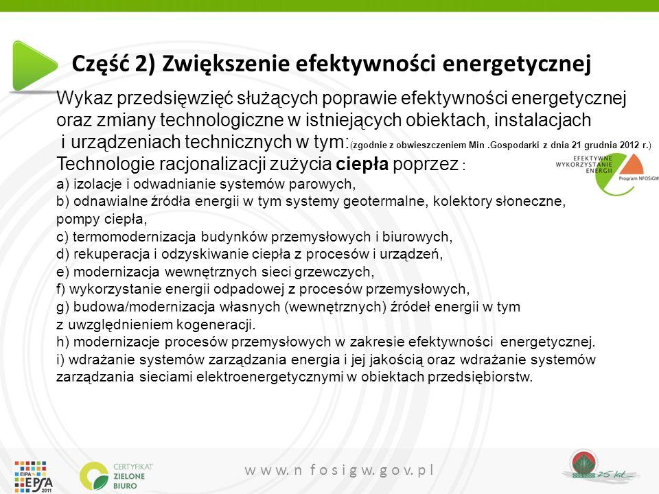 Część 2) Zwiększenie efektywności energetycznej