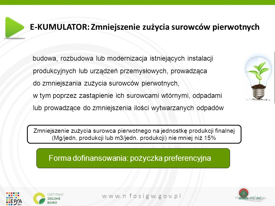 E-KUMULATOR: Zmniejszenie zużycia surowców pierwotnych
