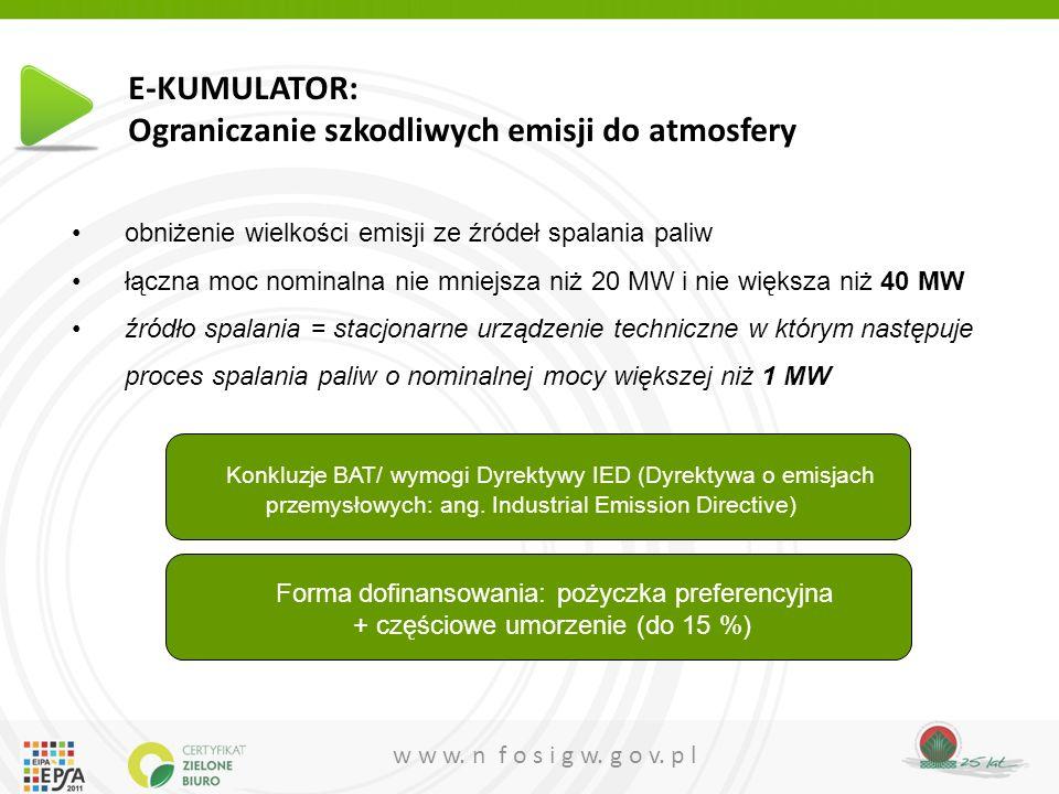 E-KUMULATOR: Ograniczanie szkodliwych emisji do atmosfery