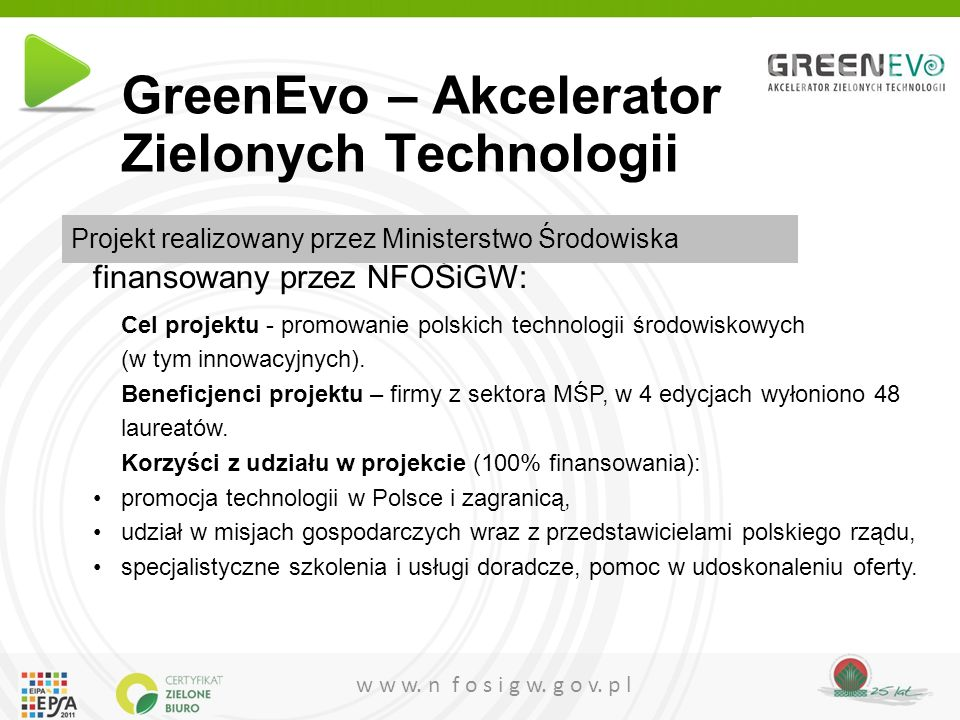 GreenEvo – Akcelerator Zielonych Technologii