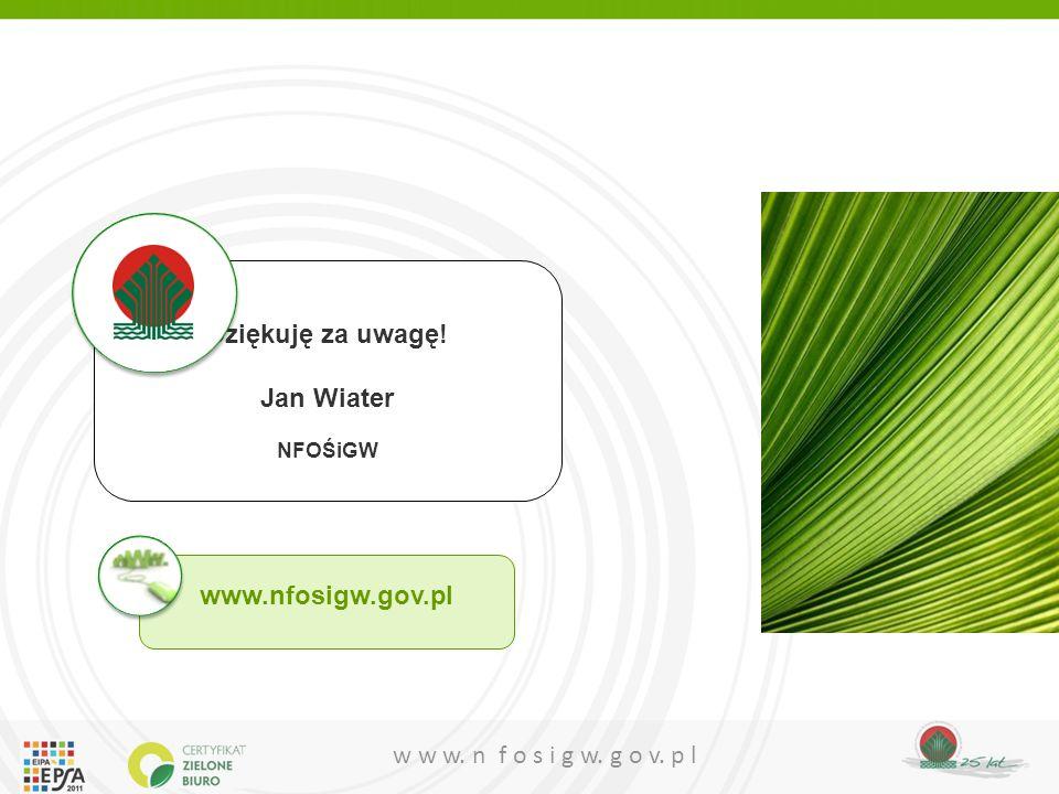 Dziękuję za uwagę! Jan Wiater www.nfosigw.gov.pl