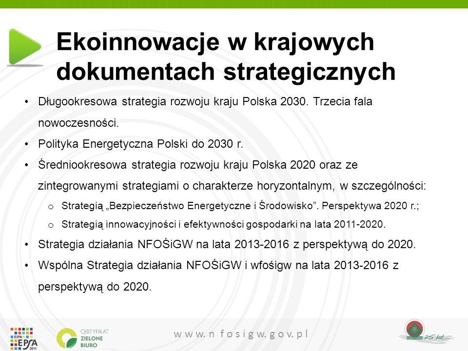 Ekoinnowacje w krajowych dokumentach strategicznych