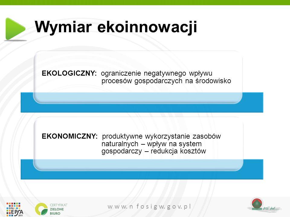 Wymiar ekoinnowacji EKOLOGICZNY: ograniczenie negatywnego wpływu procesów gospodarczych na środowisko.