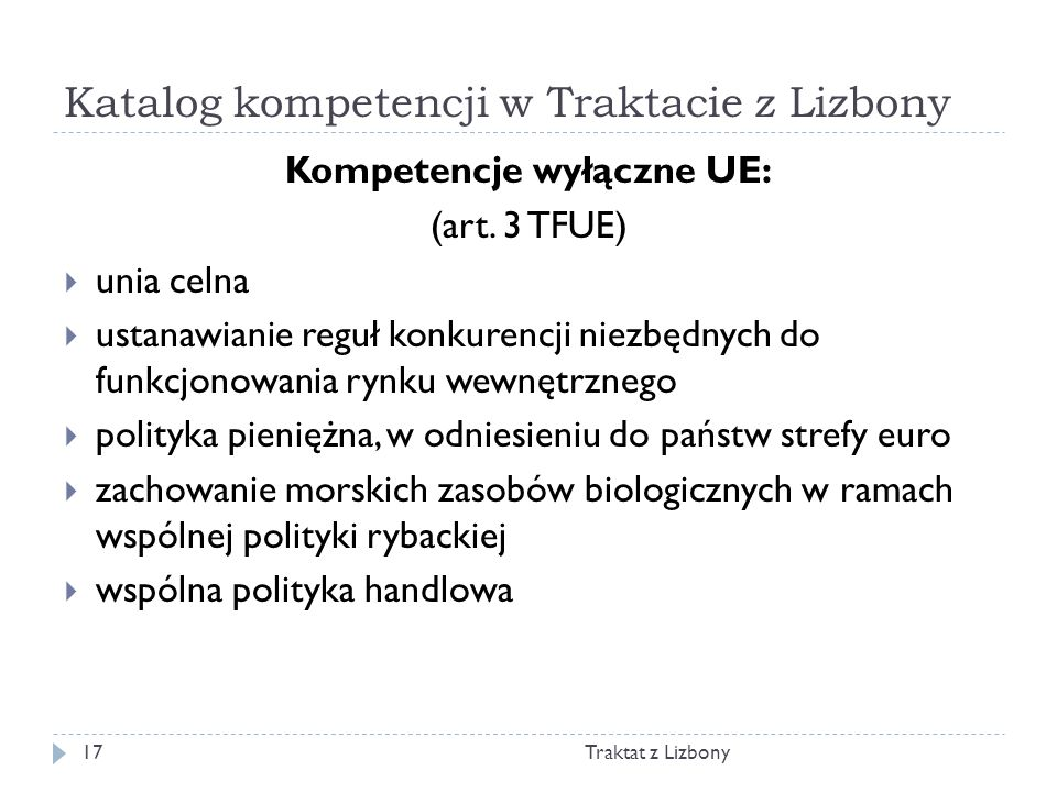 Katalog kompetencji w Traktacie z Lizbony
