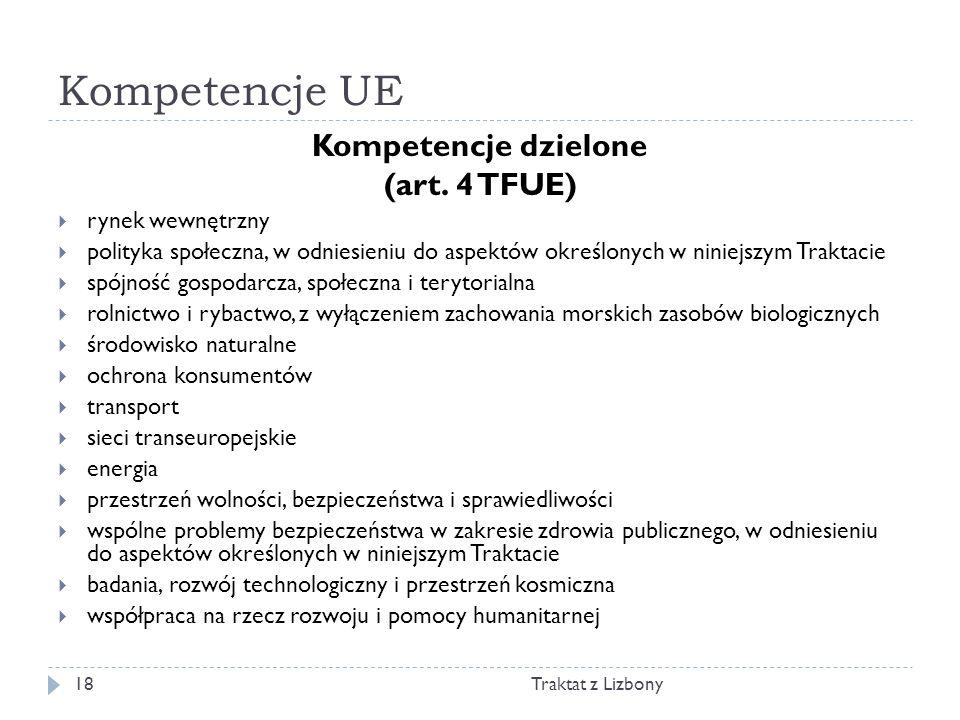 Kompetencje UE Kompetencje dzielone (art. 4 TFUE) rynek wewnętrzny