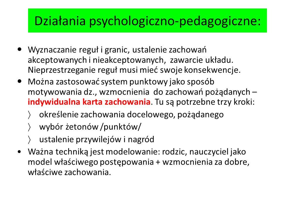 Działania psychologiczno-pedagogiczne: