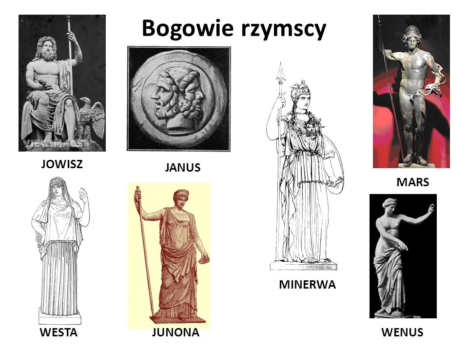 Bogowie rzymscy JOWISZ JANUS MARS MINERWA WESTA JUNONA WENUS