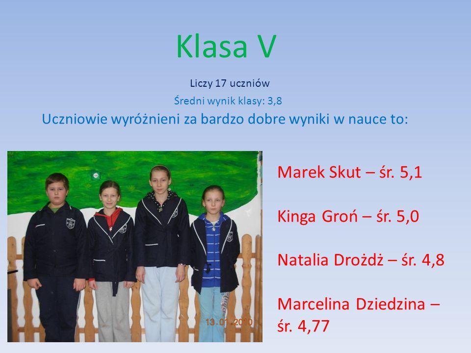 Klasa V Marek Skut – śr. 5,1 Kinga Groń – śr. 5,0