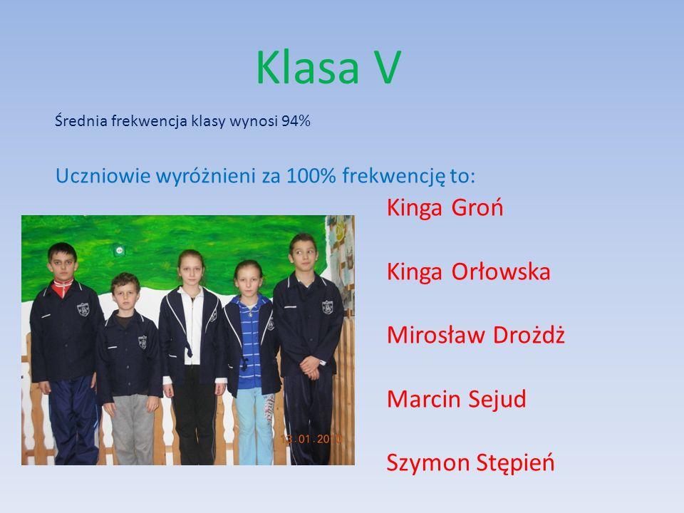 Klasa V Kinga Groń Kinga Orłowska Mirosław Drożdż Marcin Sejud
