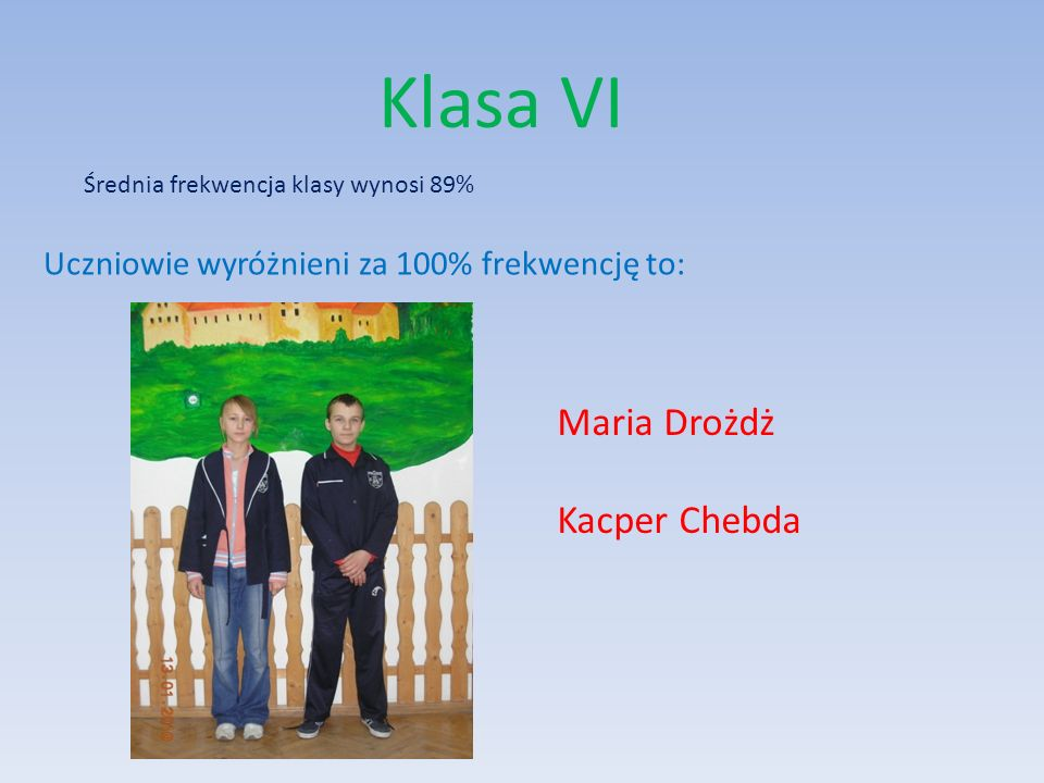 Klasa VI Maria Drożdż Kacper Chebda