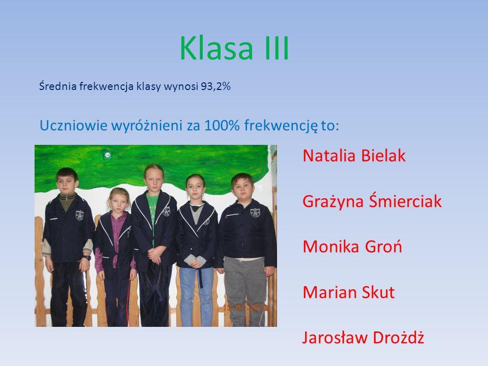 Klasa III Natalia Bielak Grażyna Śmierciak Monika Groń Marian Skut
