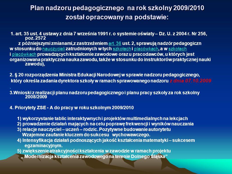 Plan nadzoru pedagogicznego na rok szkolny 2009/2010 został opracowany na podstawie: