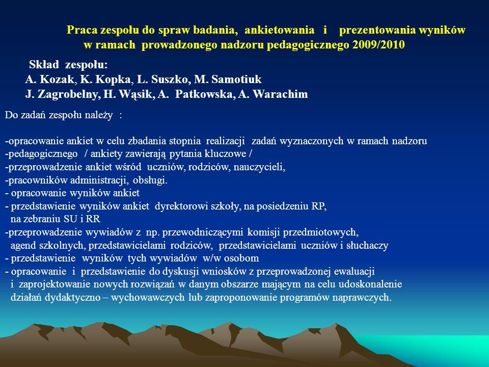 w ramach prowadzonego nadzoru pedagogicznego 2009/2010
