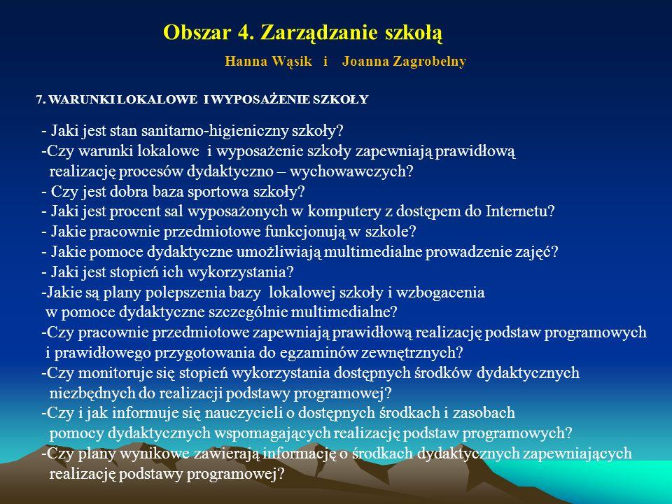 Obszar 4. Zarządzanie szkołą Hanna Wąsik i Joanna Zagrobelny