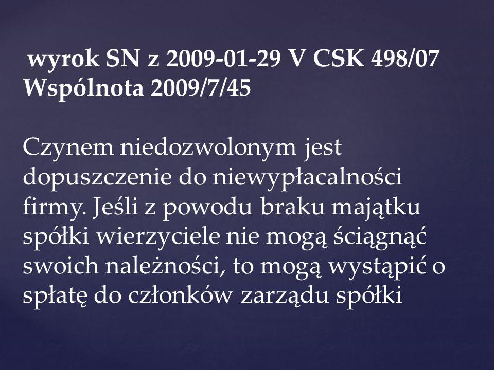 wyrok SN z 2009-01-29 V CSK 498/07 Wspólnota 2009/7/45