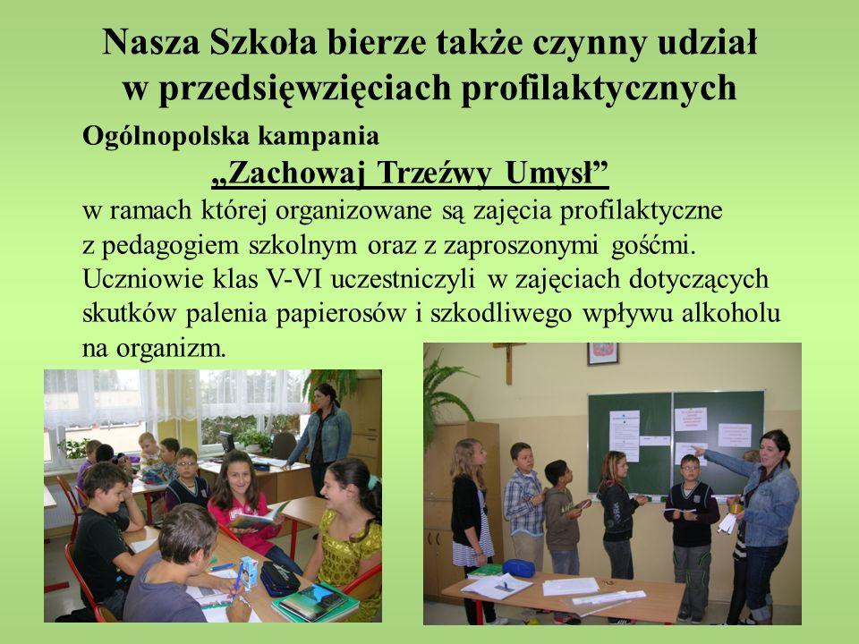 Nasza Szkoła bierze także czynny udział w przedsięwzięciach profilaktycznych