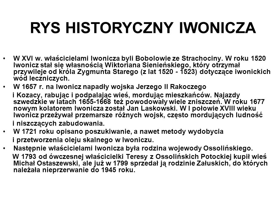 RYS HISTORYCZNY IWONICZA