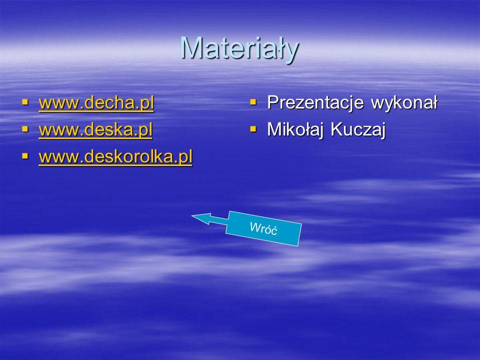 Materiały www.decha.pl www.deska.pl www.deskorolka.pl