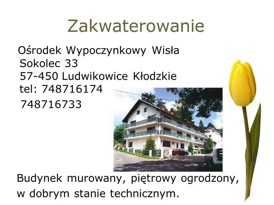 Zakwaterowanie Ośrodek Wypoczynkowy Wisła Sokolec 33 57-450 Ludwikowice Kłodzkie tel: 748716174. 748716733.