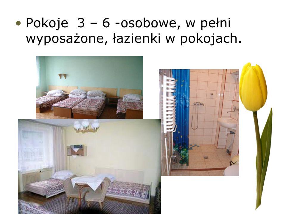 Pokoje 3 – 6 -osobowe, w pełni wyposażone, łazienki w pokojach.