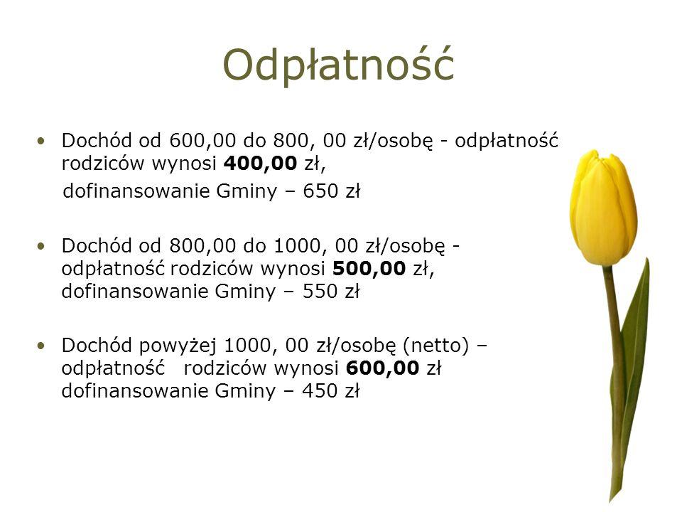 Odpłatność Dochód od 600,00 do 800, 00 zł/osobę - odpłatność rodziców wynosi 400,00 zł, dofinansowanie Gminy – 650 zł.