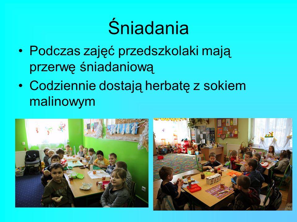 Śniadania Podczas zajęć przedszkolaki mają przerwę śniadaniową