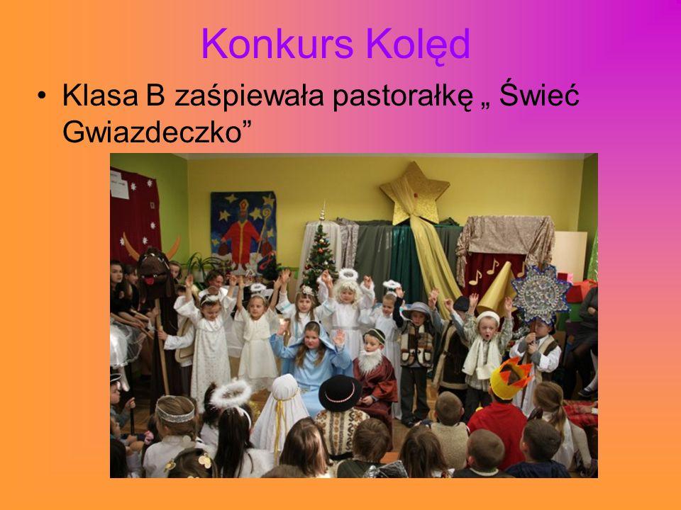 """Konkurs Kolęd Klasa B zaśpiewała pastorałkę """" Świeć Gwiazdeczko"""